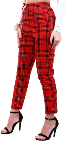 Missi Lond Red Tartan Print Jogger  - Click to view a larger image