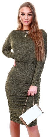 Ax Paris Black / Gold Slash Neck Glitter Ruched Dress  - Click to view a larger image