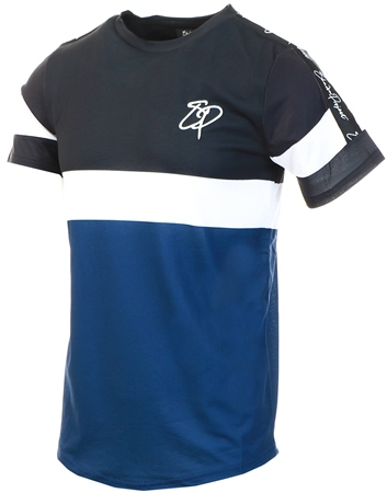Shadow Project Black / White / Navy Panel Tape Sleeve Tee  - Click to view a larger image