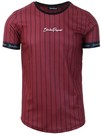 Shadow Project Burgundy / Black Pinstripe Tape Sleeve Tee  - Click to view a larger image