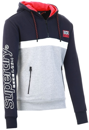 Superdry Darkest Navy Crafted Block Half Zip Hoodie  - Click to view a larger image