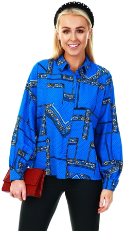 Only Blue / Graphic Printed Long Sleeve Shirt  - Click to view a larger image