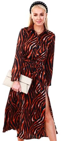Ax Paris Tiger Print Long Sleeve Shirt Maxi Dress  - Click to view a larger image