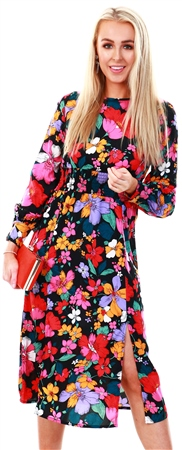 Influence Floral Print Midi Split Dress  - Click to view a larger image