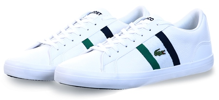 Lacoste White Lerond Tumbled Leather Sneakers  - Click to view a larger image