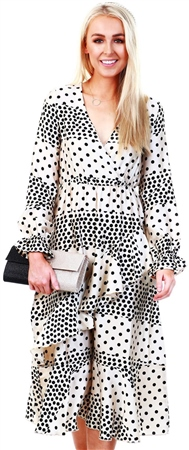Lexie & Lola Cream/Black Spot Print Dress  - Click to view a larger image