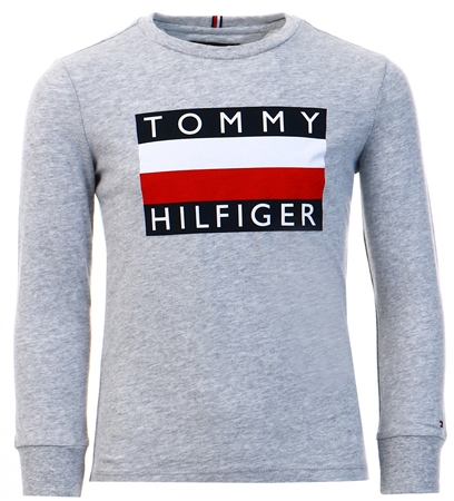 Tommy Jeans Grey Essential Long Sleeve Flag T-Shirt  - Click to view a larger image