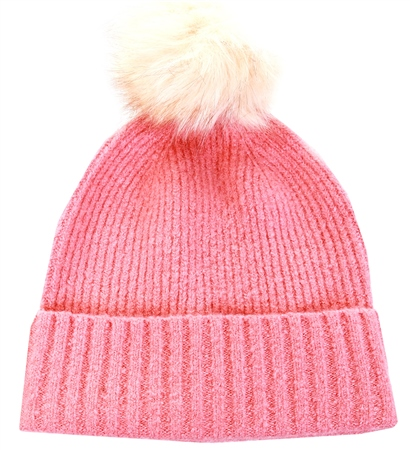 Pieces Rose Pink Wool Hat  - Click to view a larger image