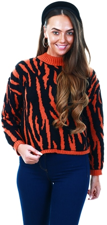 Urban Bliss Rust / Black Zebra Crop Knit Jumper  - Click to view a larger image