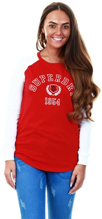 Superdry Chilli Pepper College Raglan Graphic Top  - Click to view a larger image