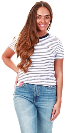 Tommy Jeans White Essential Stripe Organic Cotton T-Shirt  - Click to view a larger image