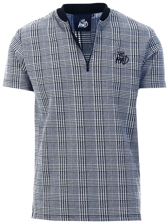 Kings Will Dream Grey Check Carbridge 1/4 Zip T-Shirt  - Click to view a larger image