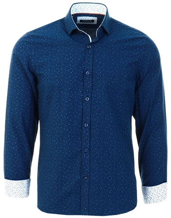 Alex & Turner Navy Printed Long Sleeve Shirt  - Click to view a larger image