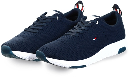 Hilfiger Denim Navy Flag Detail Knitted Trainers  - Click to view a larger image