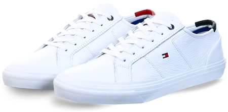 Tommy Jeans White Th Core Signature Leather Trainers  - Click to view a larger image