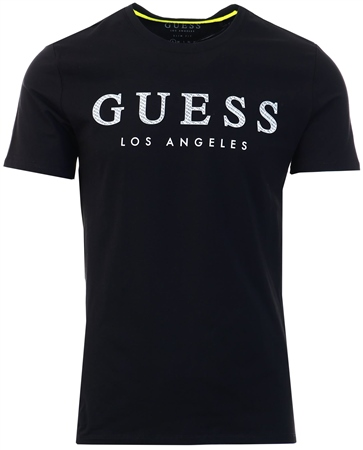Guess Black Textured Print Logo T-Shirt  - Click to view a larger image
