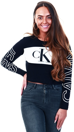 Calvin Klein Black Cropped Logo T-Shirt  - Click to view a larger image
