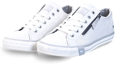 Mustang White Lace Up Trainer  - Click to view a larger image