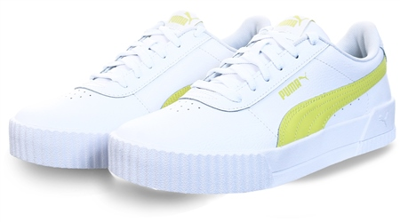 Puma White/Sunny Lime Carina Leather Women's Trainers  - Click to view a larger image