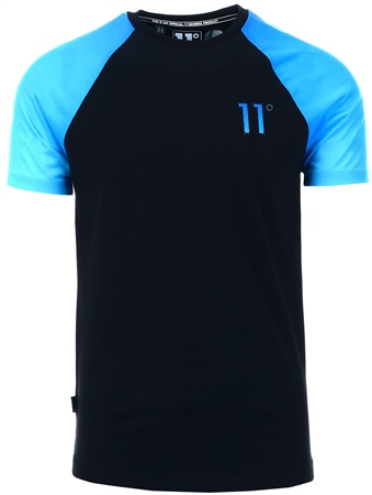 11degrees Black/Blue Fade Raglan T-Shirt  - Click to view a larger image