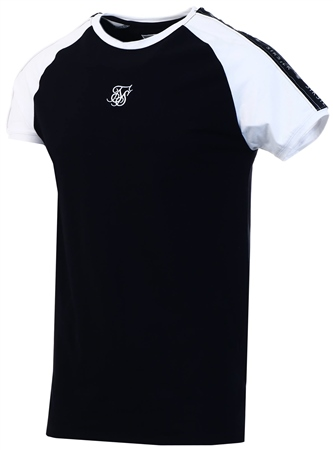 Siksilk Black S/S Raglan Straight Hem Tape Gym Tee  - Click to view a larger image