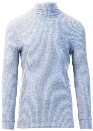 Siksilk Grey L/S Brushed Rib Knit Turtle Neck  - Click to view a larger image