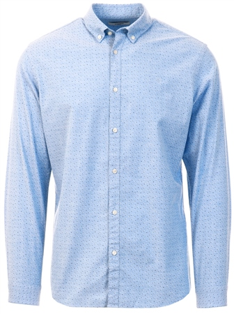 Jack & Jones Blue Printed Long Sleeve Shirt  - Click to view a larger image