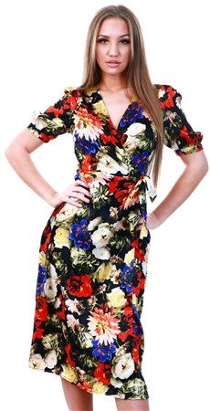 Veromoda Black / Lillian Floral Printed Midi Dress  - Click to view a larger image