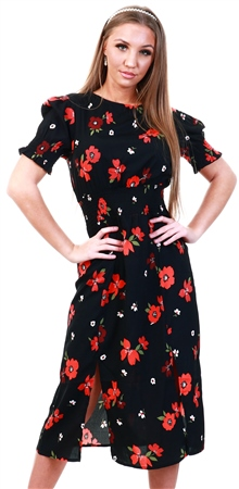 Influence Black Floral Print Midi Dress  - Click to view a larger image