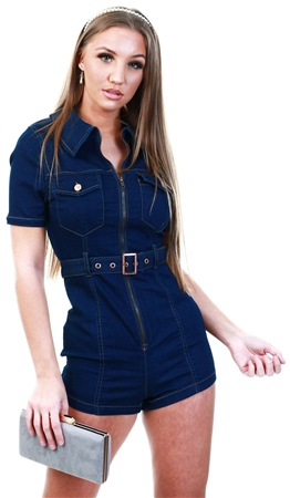 Parisian Dark Indigo Short Sleeve Zip Front Stretch Denim Playsuit  - Click to view a larger image