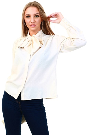 Veromoda Beige / Birch Bow Tie Shirt  - Click to view a larger image