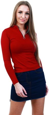 Parisian Wine 1/4 Zip Ribbed Bodysuit  - Click to view a larger image