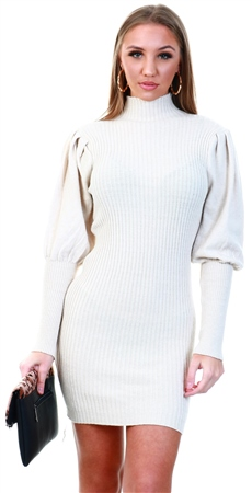 Parisian Stone Stone Puff Sleeve High Neck Rib Panel Knitted Jump  - Click to view a larger image