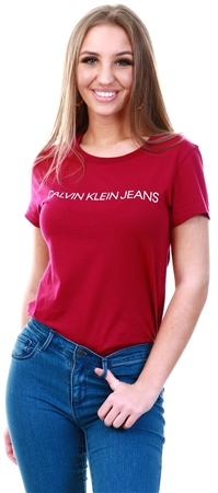 Calvin Klein Beet Red/ Blossom Slim Logo T-Shirt  - Click to view a larger image