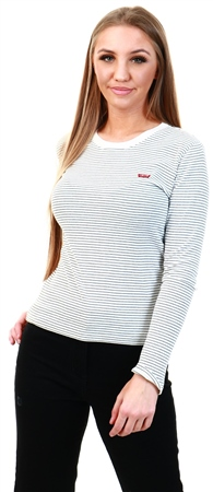 Levi's Agnes Stripe Cloud Dancer - Neutral Long Sleeved Baby Tee  - Click to view a larger image