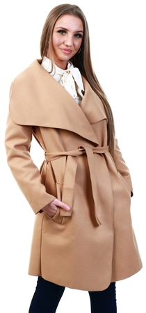 Parisian Camel Oversized Belted Waterfall Coat  - Click to view a larger image