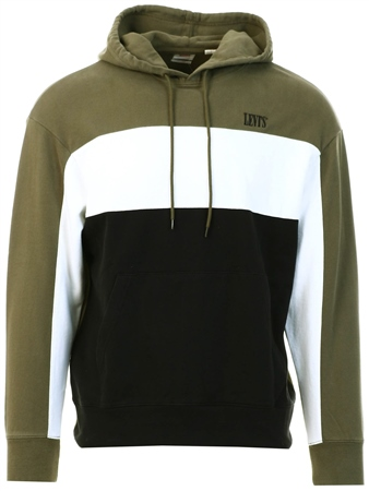 Levi's Olive Night/ White - Multi Colour Wavy Colourblock Hoodie  - Click to view a larger image