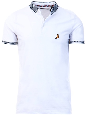 Brave Soul White Short Sleeve Polo Shirt  - Click to view a larger image