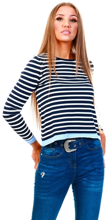 Only Blue / Night Sky Striped Knitted Pullover  - Click to view a larger image