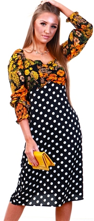 Lexie & Lola Lima Spot And Floral Midi Tea Dress  - Click to view a larger image