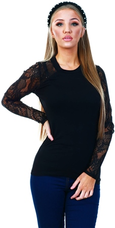 Only Black / Black Lace Sleeve Top  - Click to view a larger image