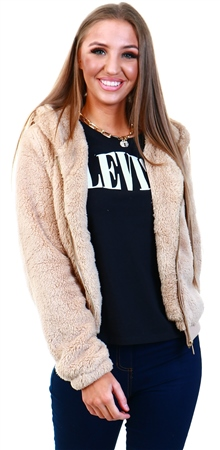 Only Brown / Cuban Sand Sherpa Jacket  - Click to view a larger image