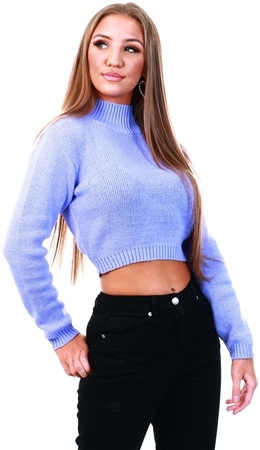 Glamorous Lilac High Neck Crop Knit Jumper  - Click to view a larger image