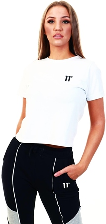 11degrees White Core Cropped T-Shirt  - Click to view a larger image