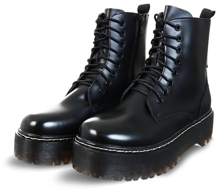 No Doubt Black Platform Lace Up Boot  - Click to view a larger image