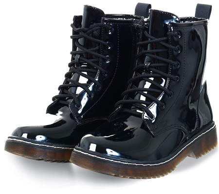 No Doubt Black Pu Lace Up Boots  - Click to view a larger image