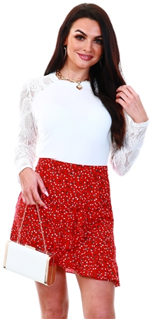 Missi Lond Red Floral Pattern Mini Skirt  - Click to view a larger image