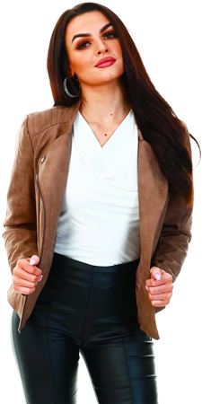 Only Brown / Woodsmoke Faux Suede Biker Jacket  - Click to view a larger image