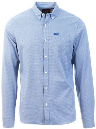 Superdry Gingham Royal Classic London Long Sleeve Shirt  - Click to view a larger image