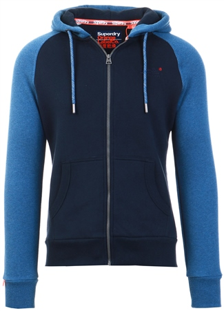 Superdry Rich Blue Orange Label Classic Raglan Zip Hoodie  - Click to view a larger image